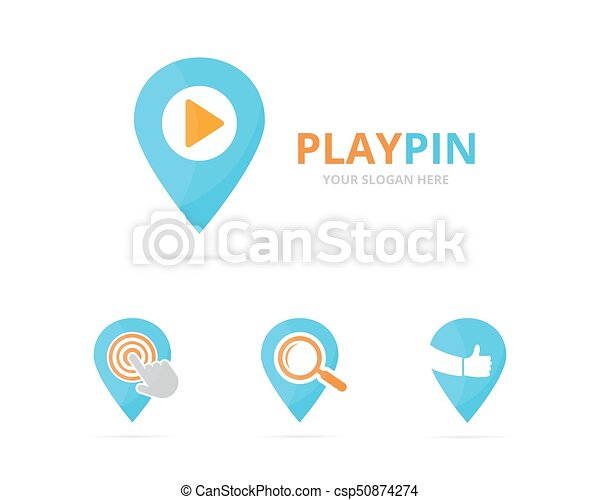 Set of map pointer logo combination. GPS locator and record symbol or icon. Unique pin and audio, video logotype design template. - csp50874274