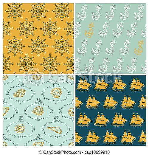 Set of Marine backgrounds - for your design, scrapbook - in vector - csp13639910