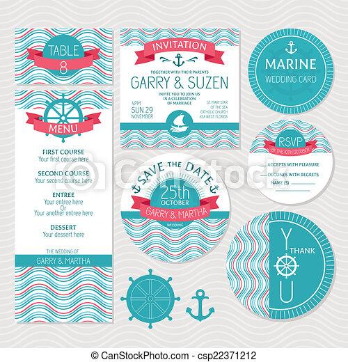 Set of marine wedding cards - csp22371212