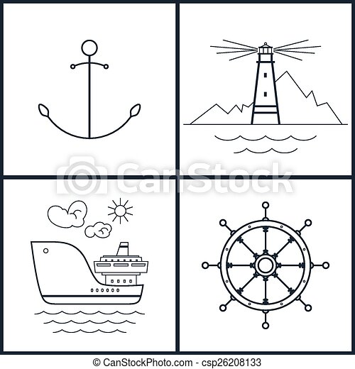 Set of maritime icons - csp26208133