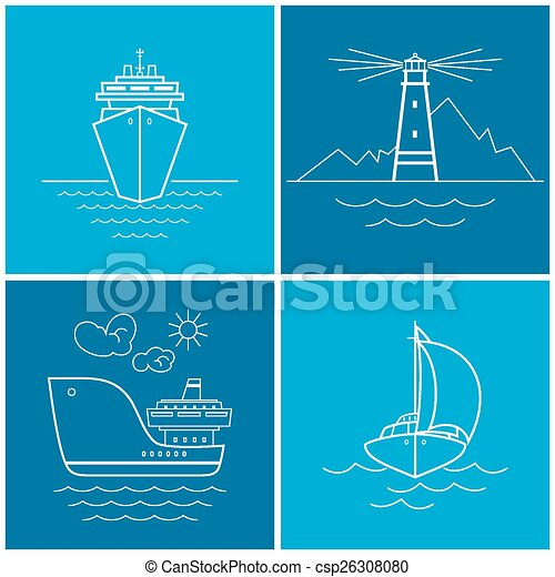 Set of maritime icons, vector  - csp26308080