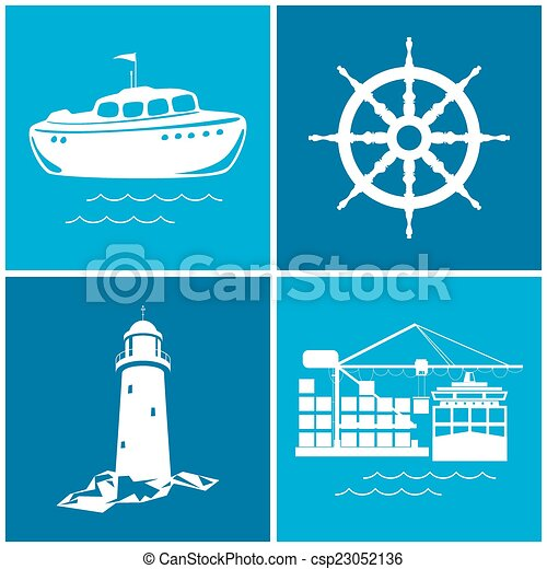 Set of maritime icons, vector illustration - csp23052136