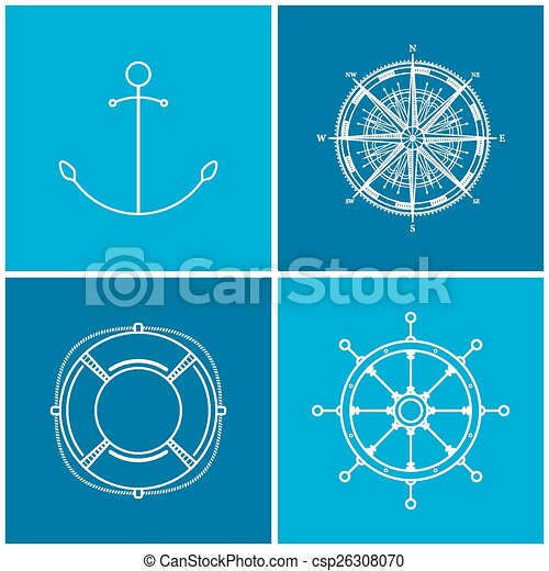 Set of maritime icons, vector - csp26308070
