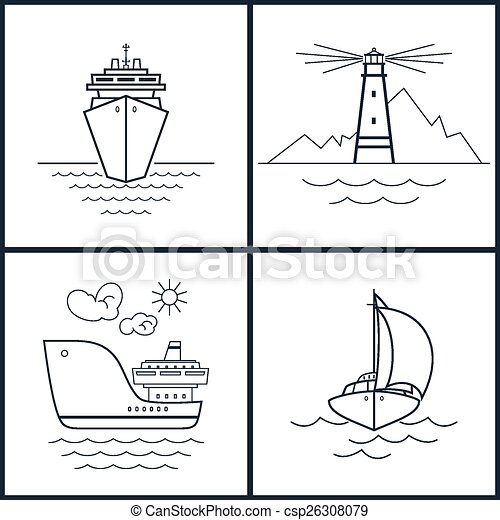 Set of maritime icons, vector - csp26308079