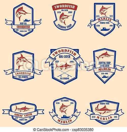 Set of marlin, swordfish emblems. Design element for logo, label, sign, poster, t shirt. - csp83035380