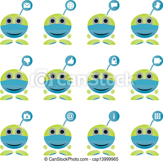Set of mascot symbol showing social technology and media icons - csp13999965