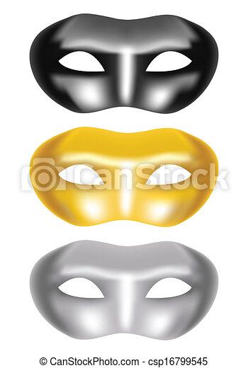 set of masks on a white background - csp16799545