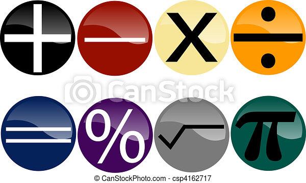 Set Of Math Symbols On Multi Colored Buttons Vectors Illustration