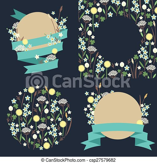 Set of meadow flowers compositions - csp27579682