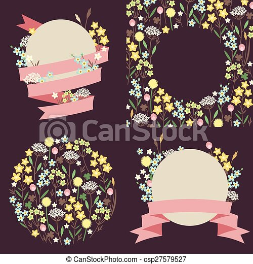 Set of meadow flowers compositions - csp27579527