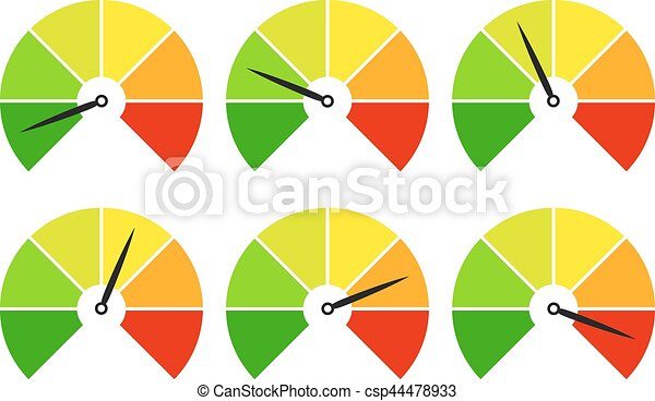 Set of measuring icons easy normal hard - csp44478933