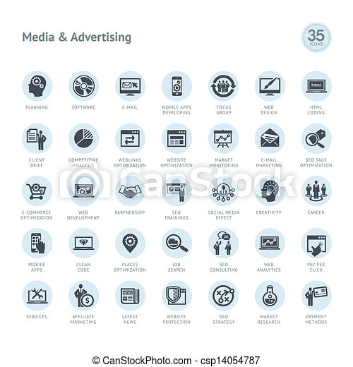 Set of media and advertising icons - csp14054787