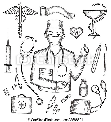 Set Of Medical Supplies Hand Drawn Vector Illustration