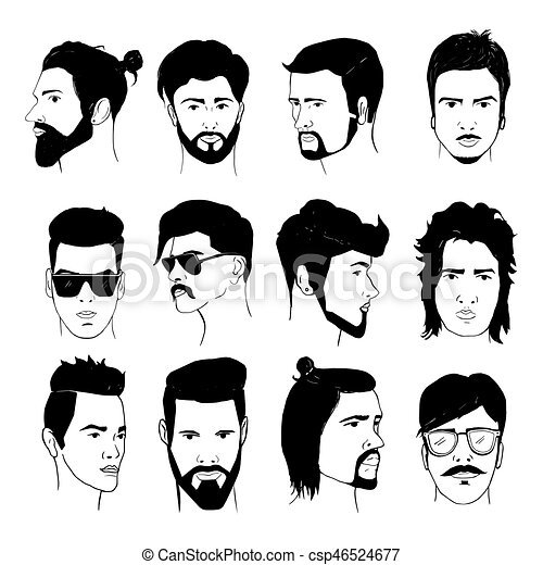 Set Of Men Hairstyle With Beards And Mustache Collection Stylish 80s 90s Types Hand Drawn