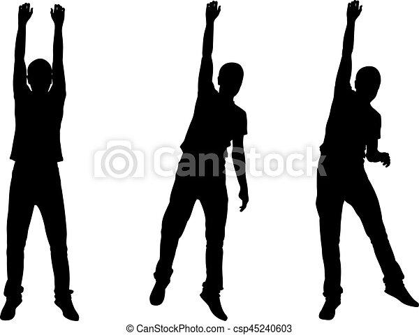 Set of men hanging silhouettes - csp45240603