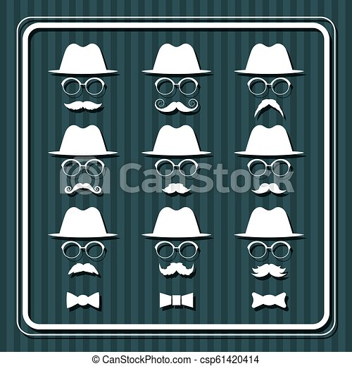 Set of men images with hats and mustaches. - csp61420414
