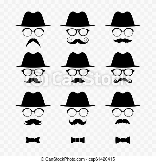 Set of men images with hats and mustaches. - csp61420415
