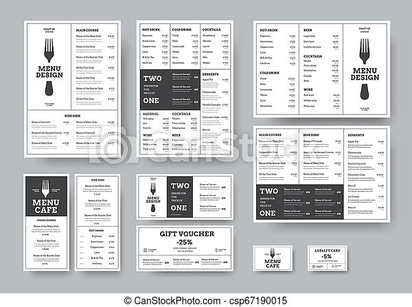 set of menus for cafes and restaurants in the classic white style with division into blocks. - csp67190015
