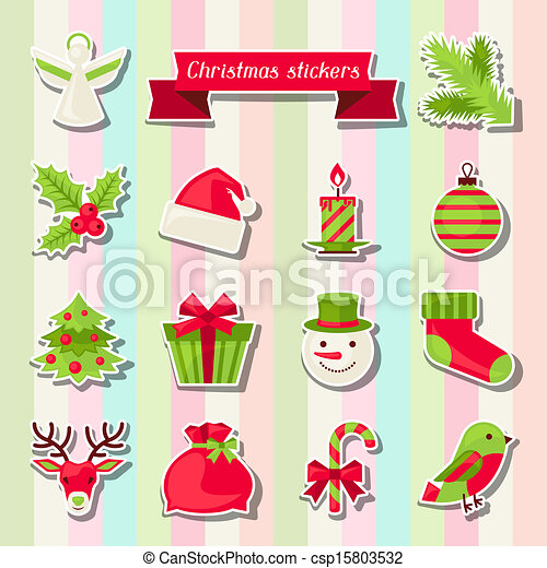 set of merry christmas stickers