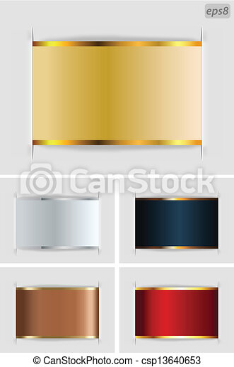 set of metallic labels on grey  - csp13640653