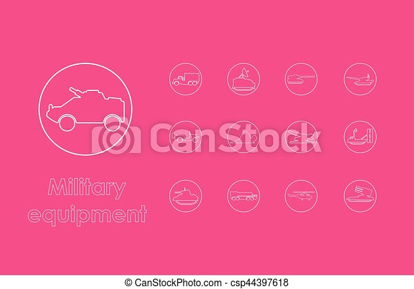 Set of military equipment simple icons - csp44397618