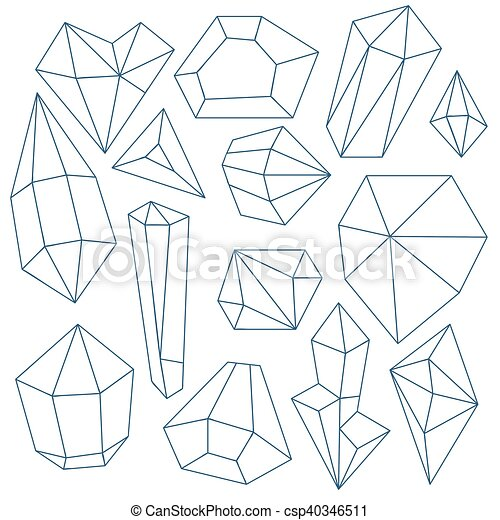 Set of mineral crystals on white background - csp40346511