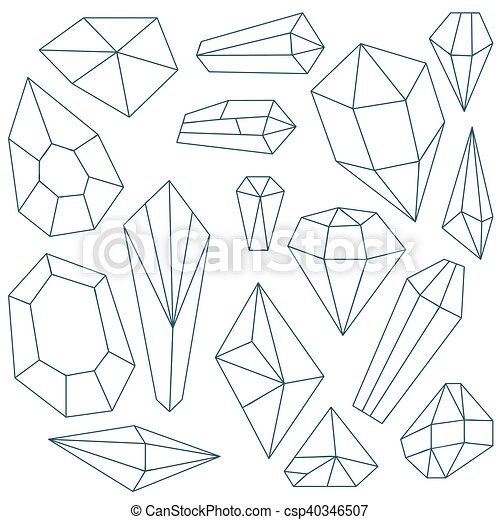 Set of mineral crystals on white background - csp40346507