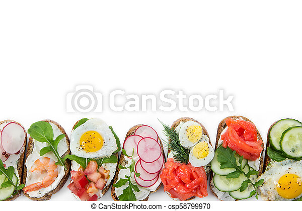 Set of mini sandwiches isolated on white - csp58799970