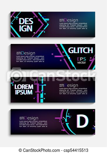 Set of modern banners and flyers with glitch style - csp54415513