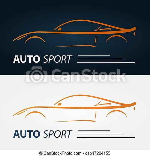 Set Of Modern Car Emblems Sports Car Silhouette Logo Design Template For Car Service