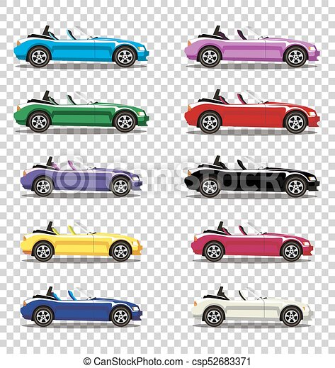 Set Of Modern Cartoon Colored Cabriolet Cars Isolated On Transparent Background Sports Cars Vector Illustration Clip Art
