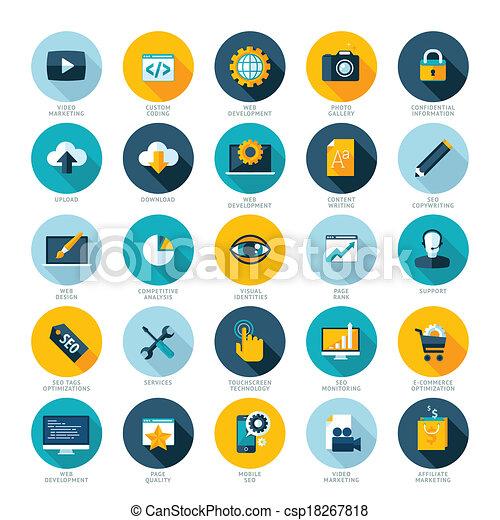 Set of modern flat design icons - csp18267818