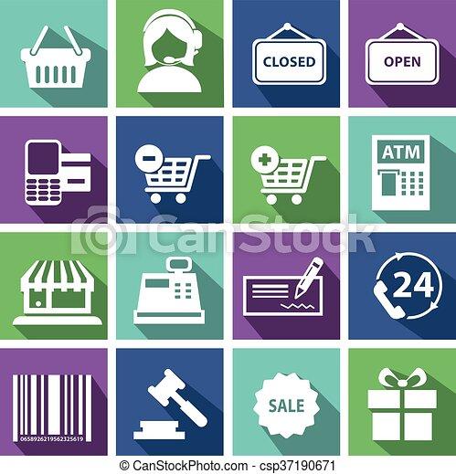 Set of modern flat shopping icons. - csp37190671
