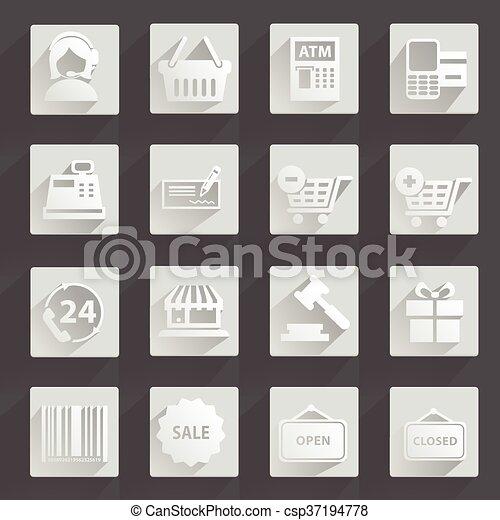Set of modern flat shopping icons - csp37194778
