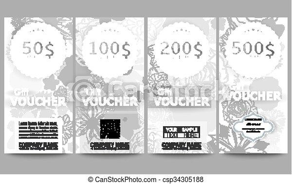 Set of modern gift voucher templates. hand drawn floral... vector ...
