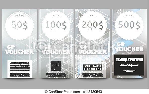 Set of modern gift voucher templates. abstract blurred... vectors ...
