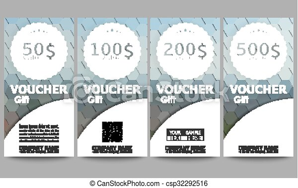 Set of modern gift voucher templates. polygonal design... vector ...