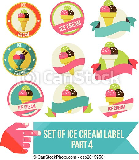 Set of modern ice cream shop badges and labels - csp20159561