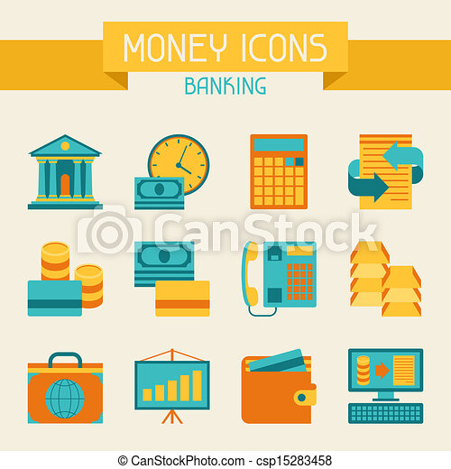 Set of money and banking icons. - csp15283458
