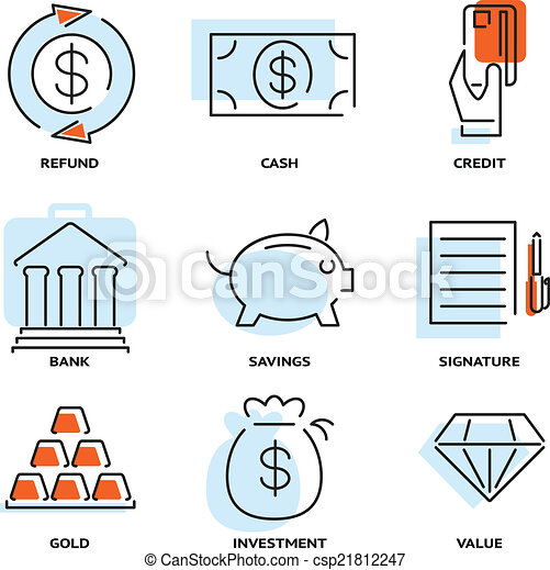 Set of money and value flat line vector icons - csp21812247