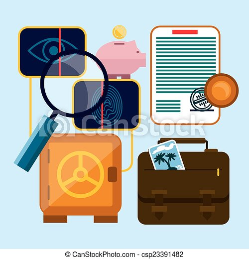 Set of money, finance, banking icons - csp23391482