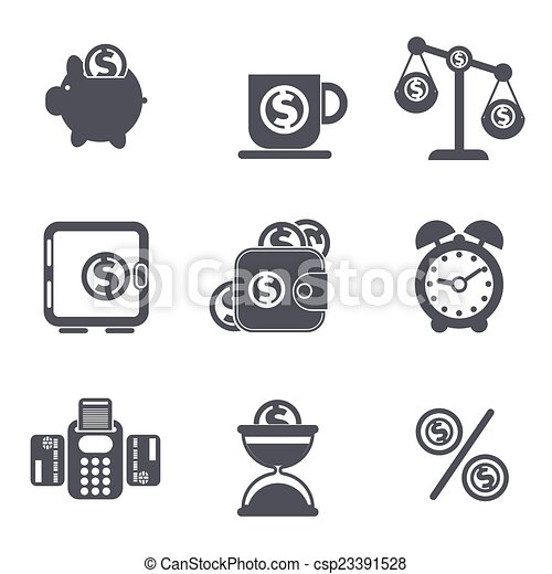 Set of money, finance, banking icons - csp23391528