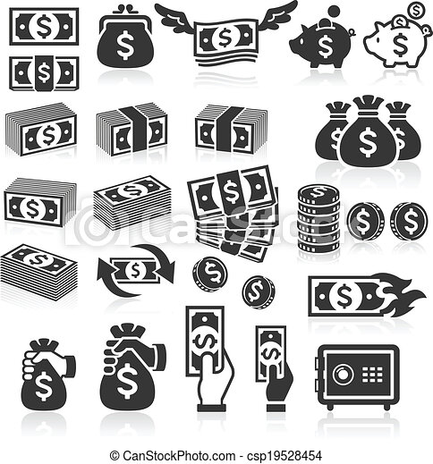 Set of money icons. - csp19528454
