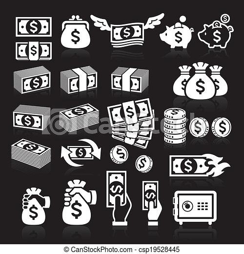 Set of money icons. - csp19528445