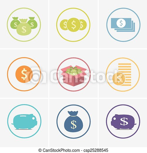 set of money icons  - csp25288545