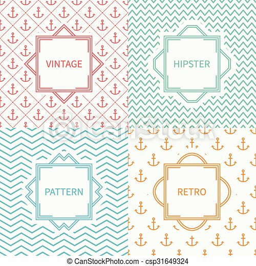 Set of mono line marine geometric seamless pattern with anchor. Vintage frames in red, green, blue, gold. Wrapping paper. Background. Texture for greeting cards, wedding invitations. Labels, badges. - csp31649324