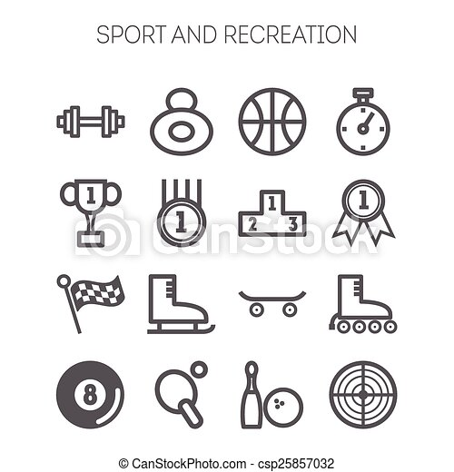 set of monochromatic simple sports icons vector - Easy Sports Drawings