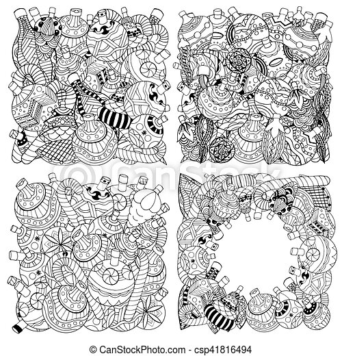 Set Of Monochrome Christmas Toys Hand Drawn Decorative Elements In Vector Fancy Trees Balls Stars Pattern For Coloring Book Sketch By Trace