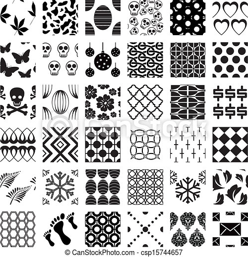 Set of monochrome geometric seamless patterns - csp15744657