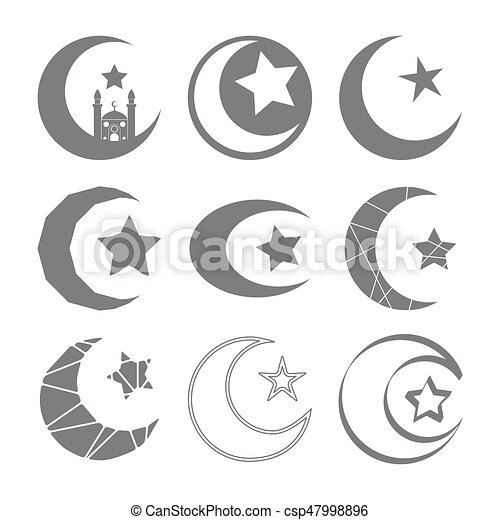 Set Of Monochrome Icons With Symbol Of Islam Crescent Moon With Star